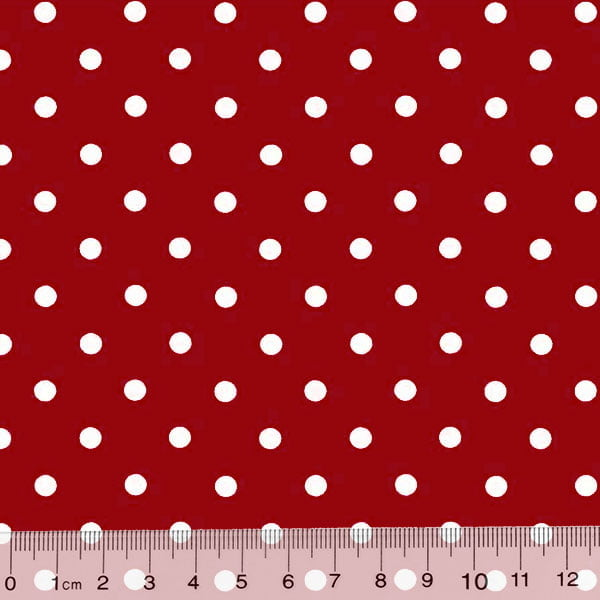 Tecido Tricoline Poá Dots - Fundo Vermelho c/ Branco