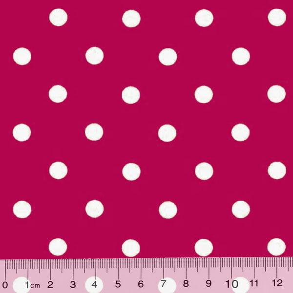 Tricoline Poá G - Fundo Rosa Pink c/ Branco