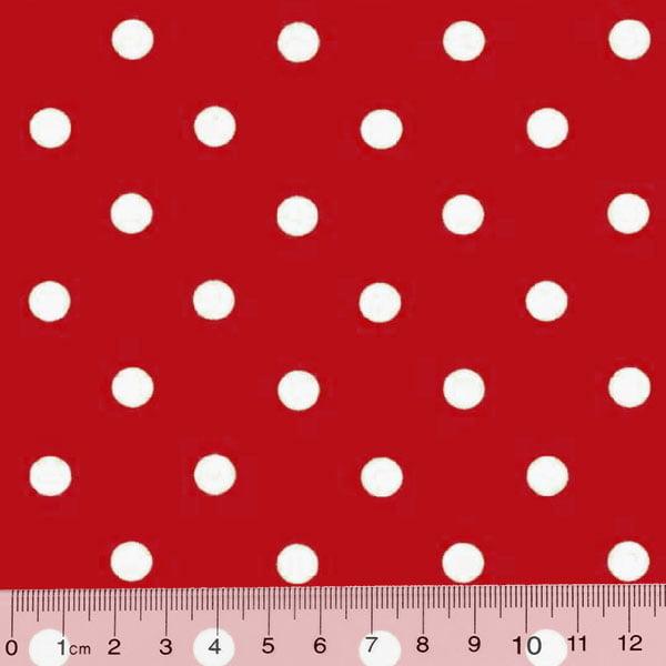 Tecido Tricoline Poá G - Fundo Vermelho c/ Branco