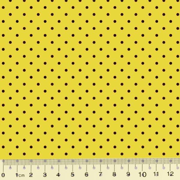 Tecido Tricoline Poá M - Fundo Amarelo c/ Preto