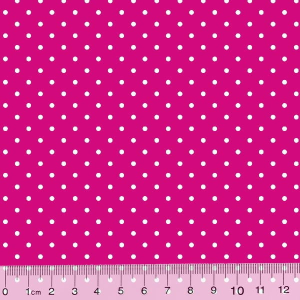 Tricoline Poá M - Fundo Rosa Pink c/ Branco