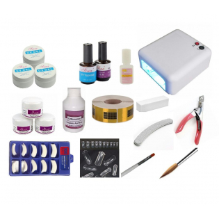 Kit Acrigel Unha Gel - Cabine UV 36W - Porcelana Acrílica