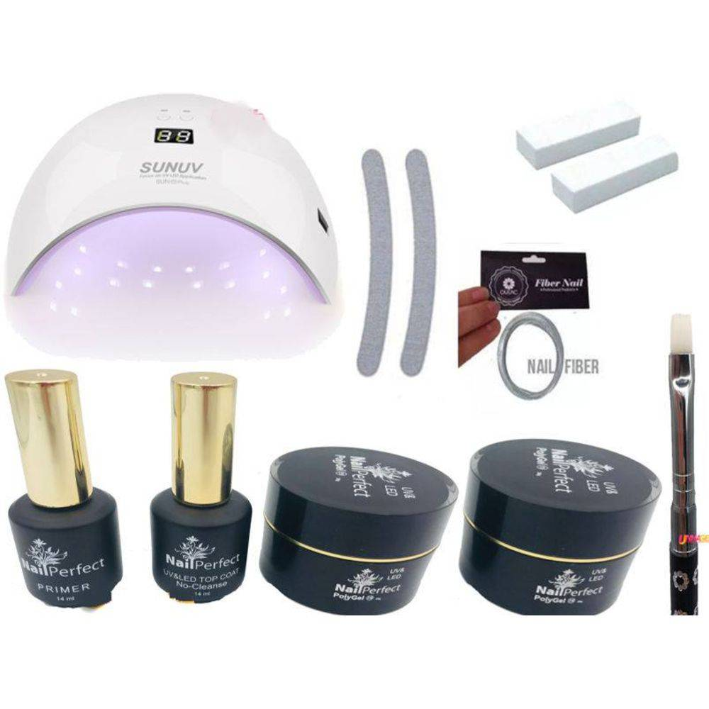 Kit Para Unhas Polygel Alongamento de Unhas Led e Uv