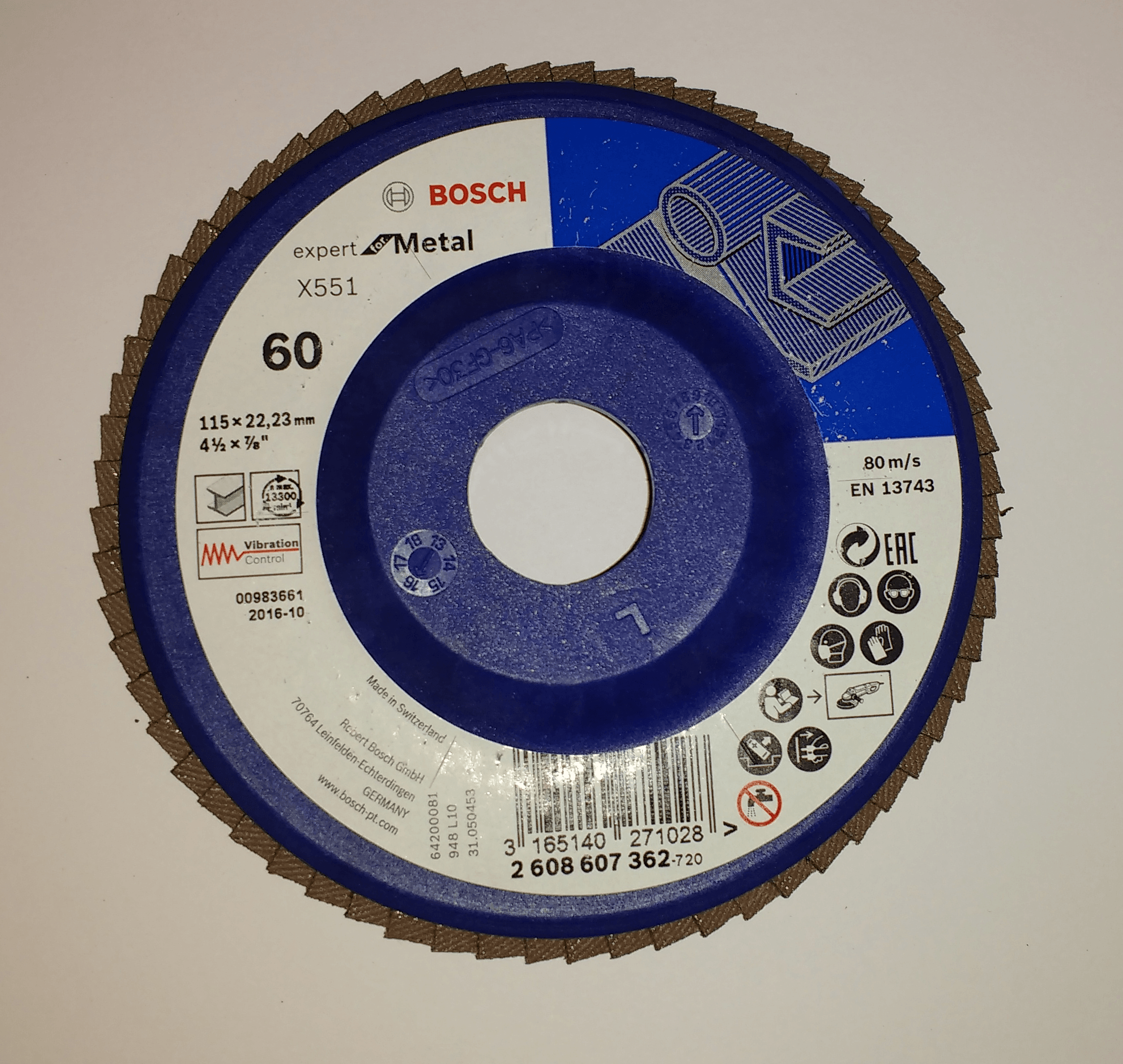 Disco Flap Blue Expert for Metal Base Plástica 115 mm Gr. 60 - Bosch