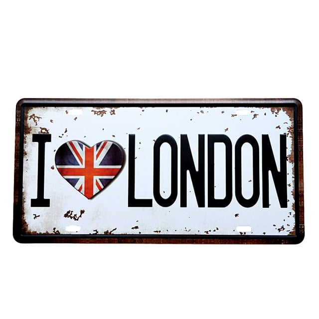 PLACA METAL I LOVE LONDON