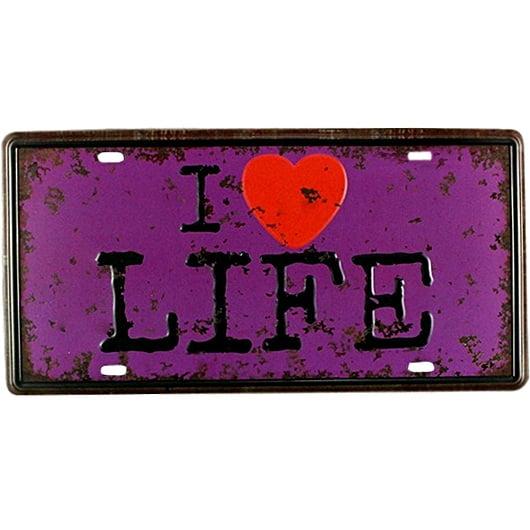PLACA METAL I LOVE LIFE