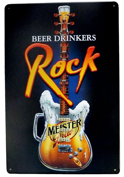 PLACA METAL BEER D ROCK