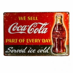 PLACA METAL WE SELL COCA-COLA