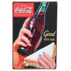 PLACA METAL COCA-COLA GOOD WITH FOOD