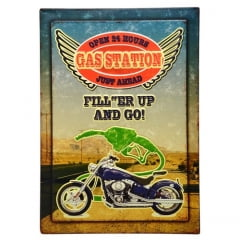 QUADRO GRANDE  MOTO GAS STATION METAL
