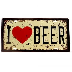 PLACA METAL I LOVE BEER