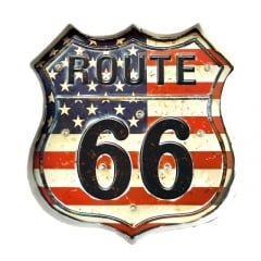 PLACA METAL ROUTE 66 COM LED