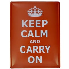 PLACA METAL KEEP CALM VERMELHA