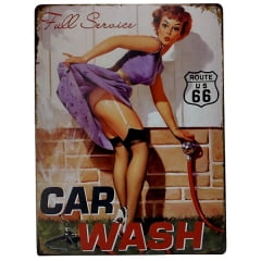 PLACA METAL PIN UP CAR WASH