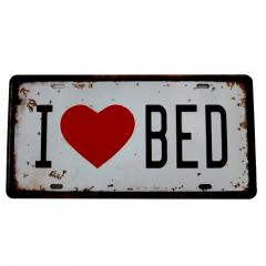 PLACA METAL  I LOVE BED