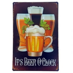 PLACA METAL IT'S BEER O'CLOCK