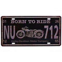 PLACA METAL BORN TO RIDE