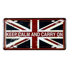 PLACA METAL KEEP CALM AND CARRY ON