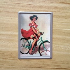 PLACA METAL PIN UP BICICLETA