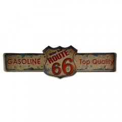 PLACA METAL ROUTE 66 GASOLINE COM LED
