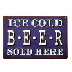 PLACA METAL ICE COLD BEER G