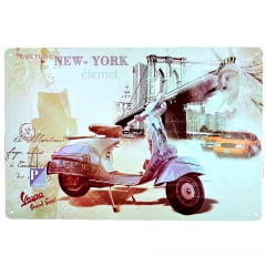 PLACA METAL VESPA NEW YORK