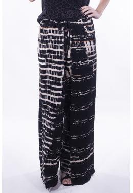 Calça Pantalona Envelope Estampa Grid