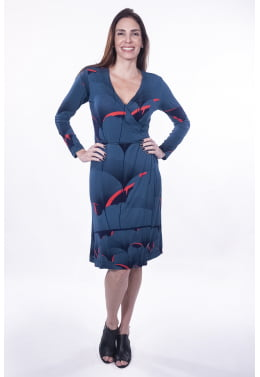 Vestido Transpassado Estampa Leque