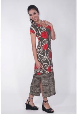 Vestido longo floral hibisco