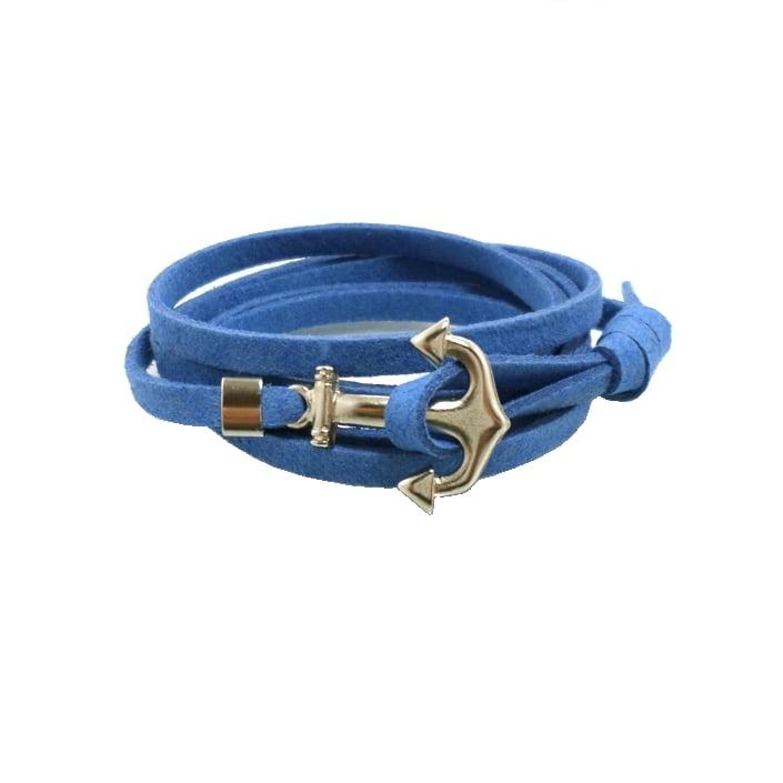 Pulseira Camurça Azul - Âncora Prata