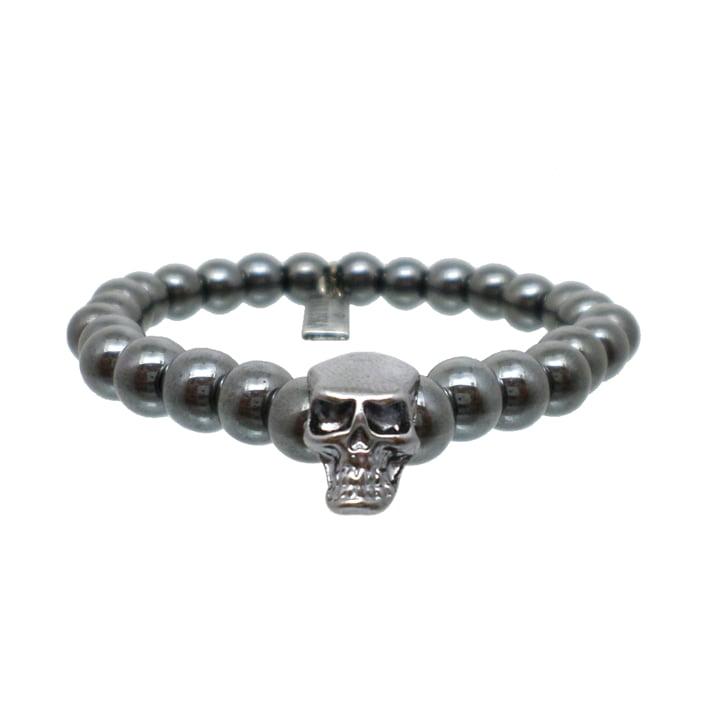 Pulseira Pedras Hematita Skull
