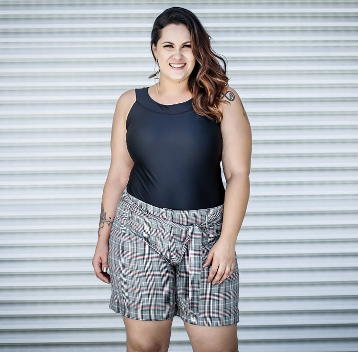 Short Xadrez Plus Size