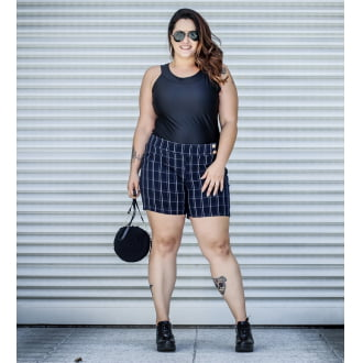 Short Plus Size Xadrez