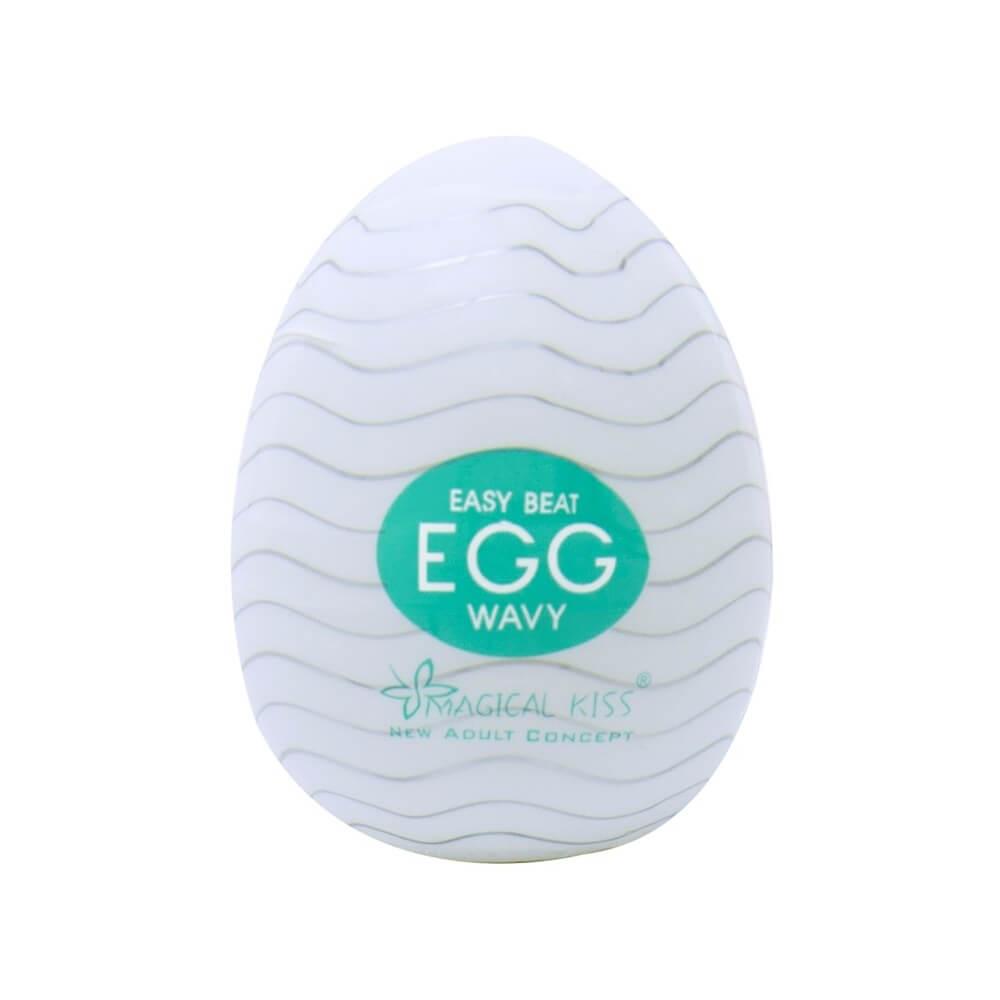 Egg One Cap Wavy é um masturbador masculino em formato de ovo