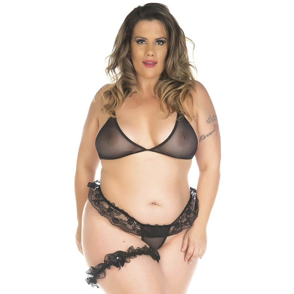 KIT MINI FANTASIA PLUS SIZE CONJUNTO SEXY PIMENTA