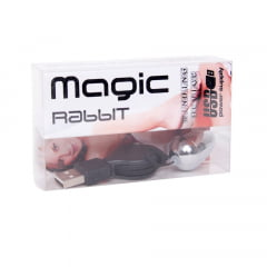 VIBRADOR MAGIC RABBIT BULLET CROMADO COM CABO USB EMPORIO DESIRE
