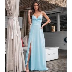 Vestido de Festa Longo Azul Serenity Decote Nó e Fenda