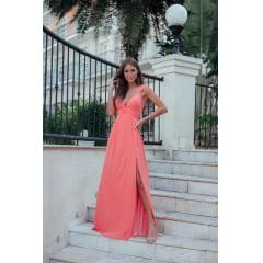 Vestido de Festa Longo Coral Decote em V e Fenda
