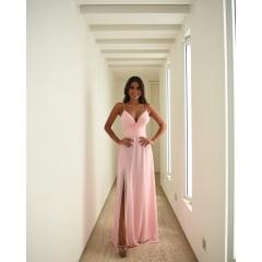 Vestido de Festa Longo Rosa Decote Nó e Fenda