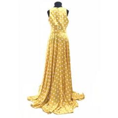 Vestido Longo Crepe Poá Amarelo