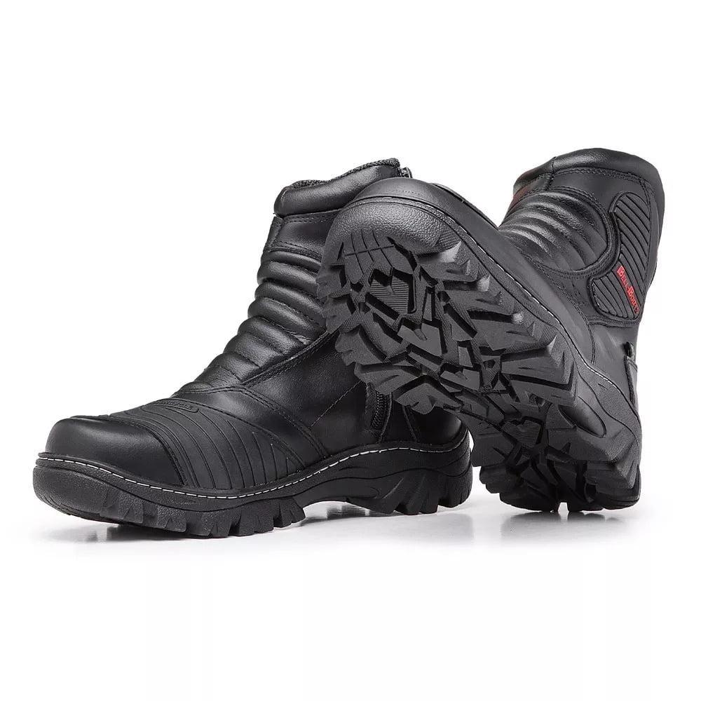bota de couro masculina preta alta resistencia