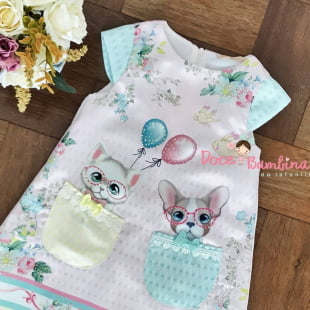 a6b9ea0c46 Vestido Petit Cherie Casual Trapézio Rosa Cão e Gato