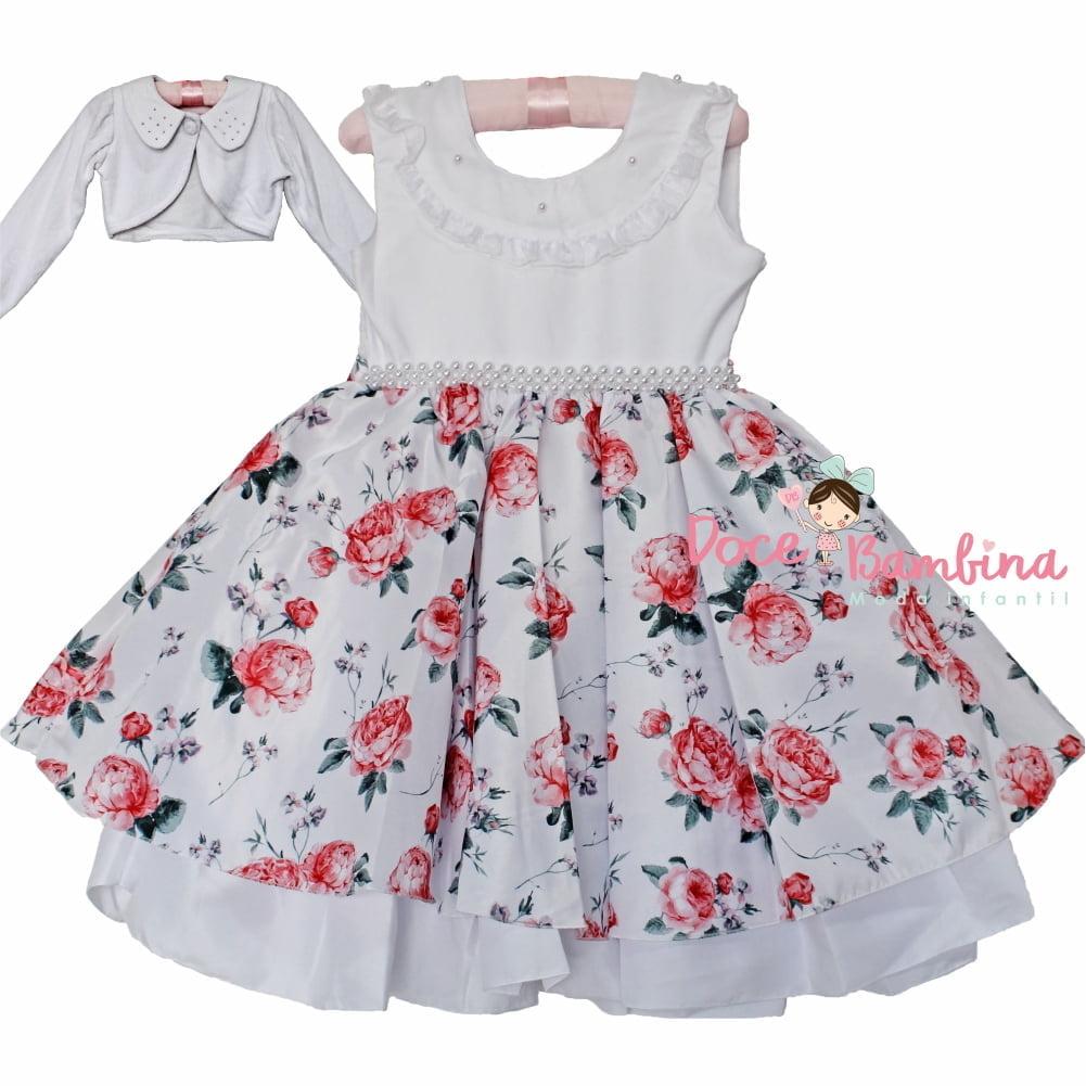 504bc01121 Vestido Infantil Floral Rosas Vermelhas + Brinde