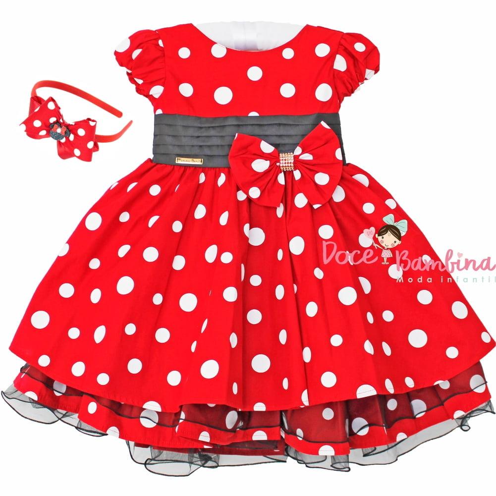 a132b734674 Vestido Infantil Minnie Vermelho e Branco Menina Bonita + Brinde