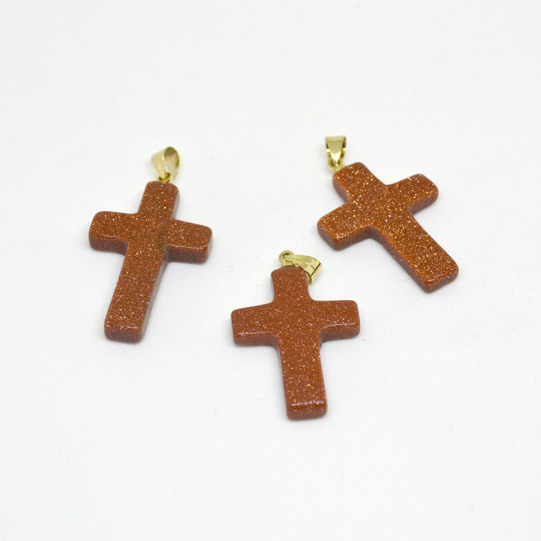 Pingente Pedra do Sol Crucifixo Dourado