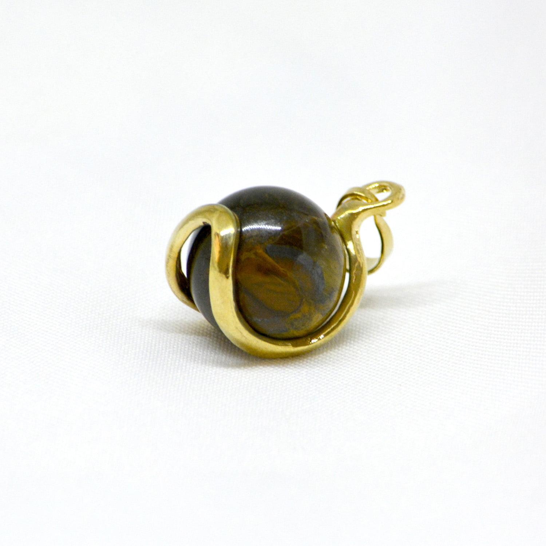 Pingente Olho de Tigre Esfera Dourado – 5971