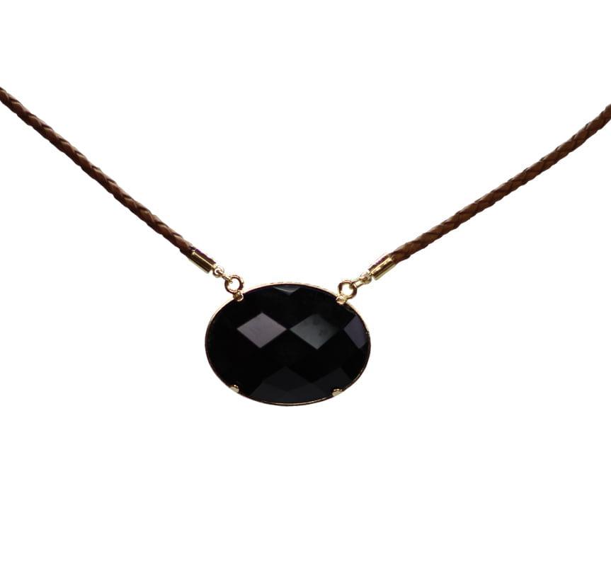 Colar de Obsidiana Negra Facetado