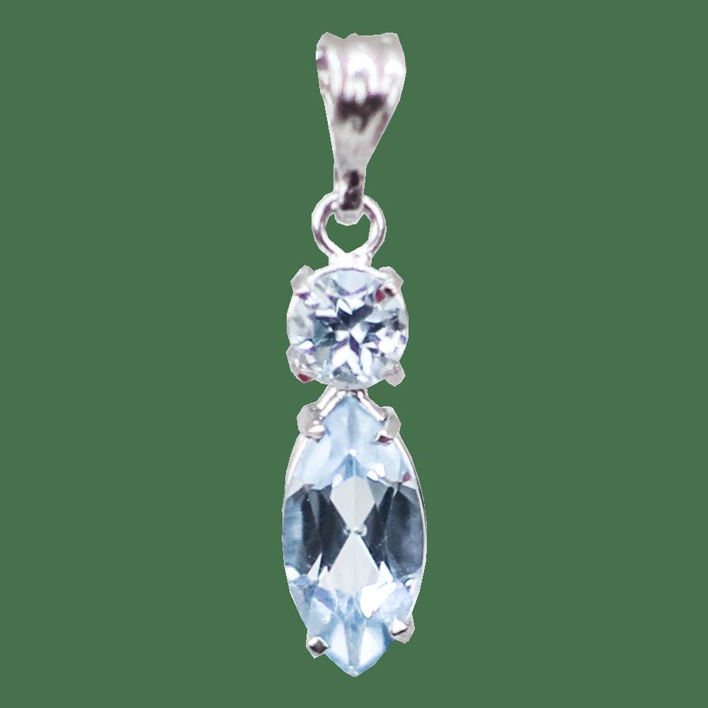 Pingente Topázio Azul de Prata