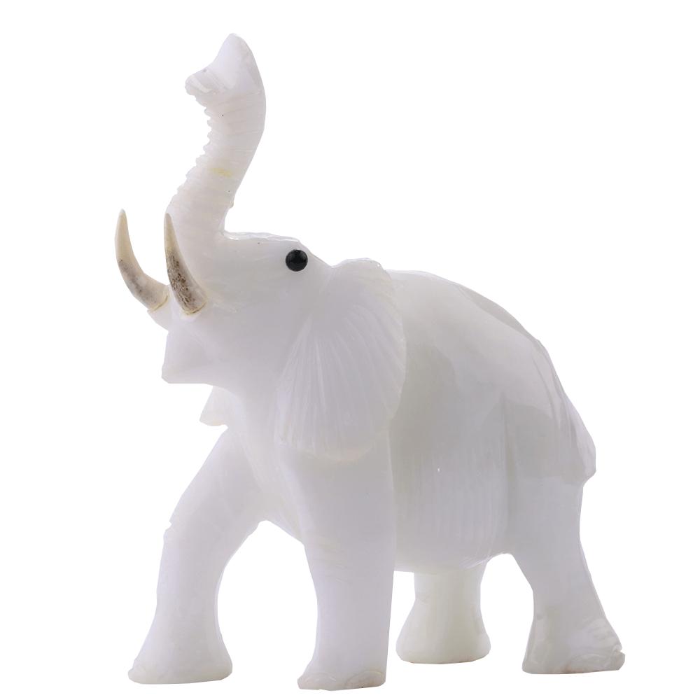 Elefante de Pedra Quartzo Leitoso 980 g