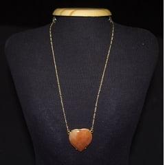 Colar de Pedra Calcita Laranja Coração
